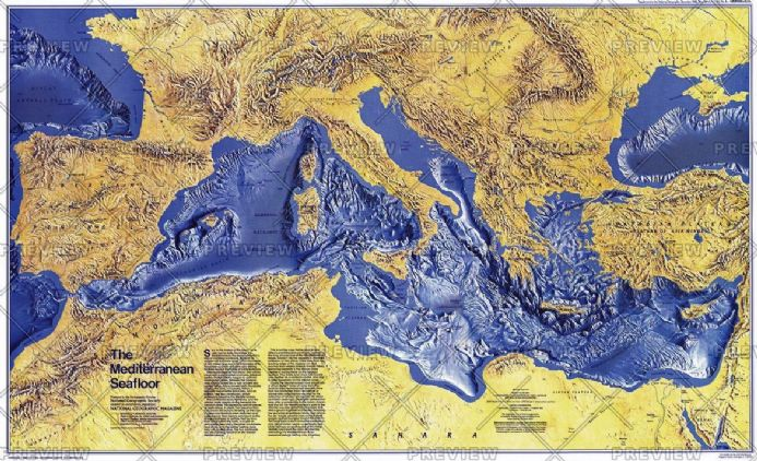 Mediterranean Seafloor - Published 1982 by National Geographic
